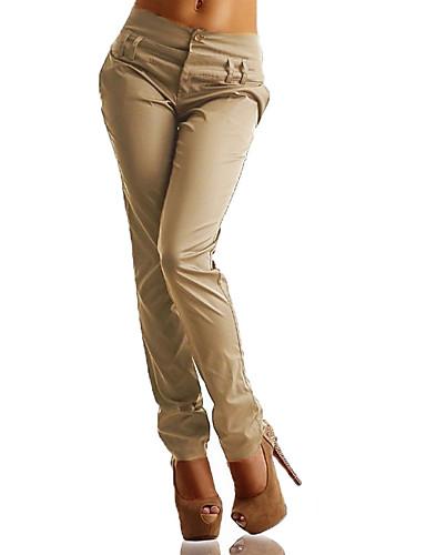 billige Tights til damer-Dame Store størrelser Harem / Chinos Bukser - Ensfarget Høy Midje Svart Navyblå Kakifarget XXXL XXXXL XXXXXL