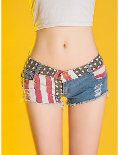 Жен. Уличный стиль Шорты Брюки С прорезями / Пэчворк / американский флаг Заниженная Хлопок L XL XXL