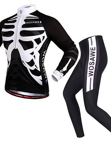 cheap Cycling-WOSAWE Women's Men's Long Sleeve Cycling Jersey with Tights Winter Spandex Polyester Black Skeleton Bike Clothing Suit Quick Dry Reflective Strips Back Pocket Sports Skeleton Mountain Bike MTB Road