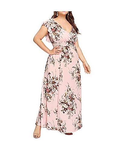 levne Maxi šaty-Dámské Větší velikosti Sexy Swing Šaty - Květinový, Tisk Maxi Hluboké V