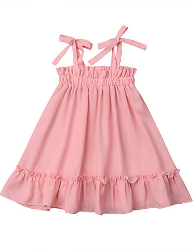 שמלה כותנה ללא שרוולים קפלים אחיד ורד מאובק פעיל / בסיסי בנות תִינוֹק / פעוטות