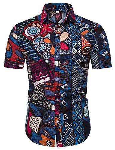 levne Pánské košile-Pánské - Etno Vintage Košile, Tisk Modrá Vodní modrá