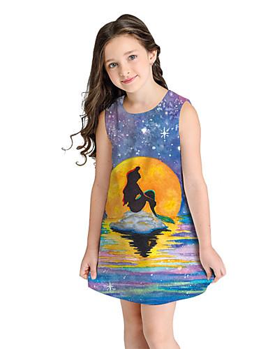 שמלה מעל הברך שרוולים קצרים גיאומטרי מתוק / סגנון חמוד בנות ילדים / כותנה