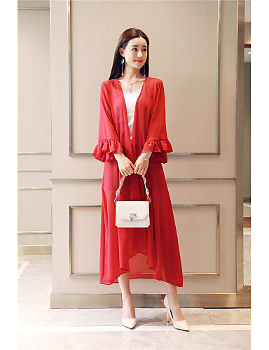 c924cba7a Women's Going out / Beach Boho Fall / Spring & Summer Long Cloak / Capes,  Solid Colored V Neck Half Sleeve Polyester Patchwork White / Red / Blushing  Pink ...