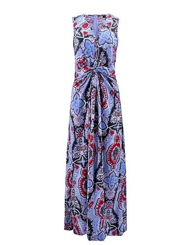 levne Maxi šaty-Dámské Elegantní Shift Šaty - Geometrický, Tisk Maxi