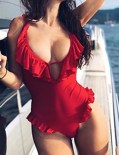 billige Bikinier og damemote-Dame Grunnleggende Bohem Rød Grime G-streng Høy Midje En del Badetøy - Ensfarget Åpen rygg Drapering S M L Rød