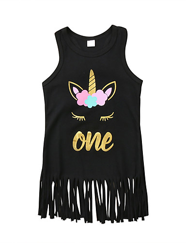 preiswerte Unicorn Dresses-Kinder Baby Mädchen Unicorn Tier Buchstabe Kleid Schwarz