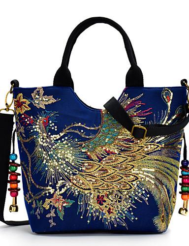 preiswerte Elegante Damen-Handtaschen-Damen Stickerei Segeltuch Tasche mit oberem Griff Stickerei Blau / Schwarz / Rote / Herbst Winter