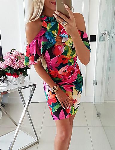 cheap Print Dresses-Women's Bodycon Short Mini Dress - Short Sleeve Floral Print Crew Neck Basic Streetwear Slim Red S M L XL