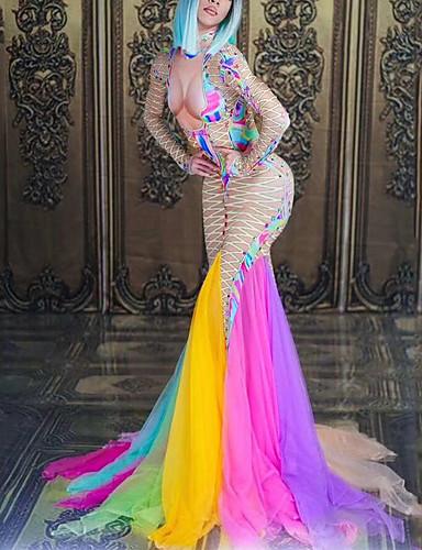 levne Shall We®-Exotické Dancewear Diamantové body / Kombinéza do nočního klubu Dámské Výkon Spandex Akrylové šperky / Rozdělení Dlouhý rukáv Šaty