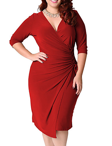 preiswerte Neu Eingetroffen-Damen Übergrössen Baumwolle Bodycon Kleid Asymmetrisch V-Ausschnitt