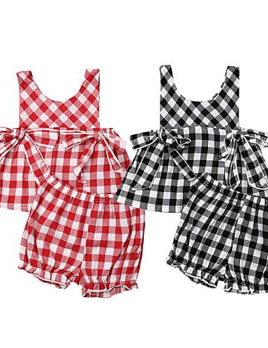 סט של בגדים ללא שרוולים משובץ בנות תִינוֹק