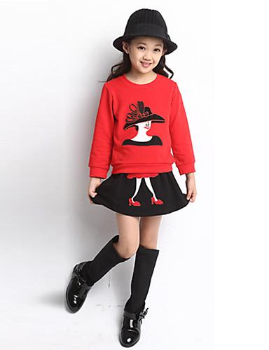 סט של בגדים שרוול ארוך אחיד / אנימציה בסיסי בנות ילדים