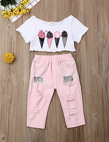 סט של בגדים כותנה קצר שרוולים קצרים חור דפוס ורד מאובק פעיל / סגנון רחוב בנות תִינוֹק / פעוטות