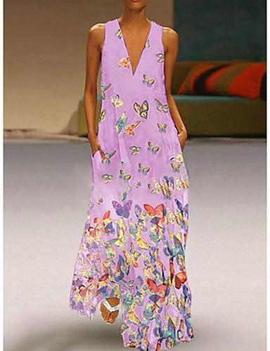 levne Maxi šaty-Dámské Větší velikosti Plážové Cikánský Štíhlý A Line Šaty - Zvíře Maxi Do V