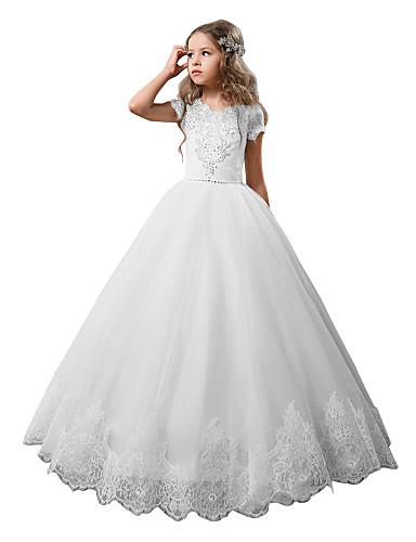 נסיכה עד הריצפה שמלה לנערת הפרחים - כותנה / ניילון עם שמץ של מתיחה / תחרה / טול שרוולים קצרים עם תכשיטים עם תחרה / קריסטלים / אבנים נוצצות על ידי LAN TING Express