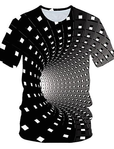 billige Herreklær-Herre T skjorte Grafisk Geometrisk 3D Kortermet Daglig Topper Grunnleggende Regnbue