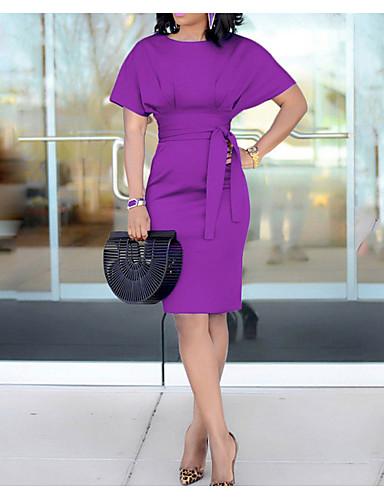 levne Pracovní šaty-Dámské Elegantní Pouzdro Šaty - Jednobarevné, Čistá barva Délka ke kolenům / Sexy