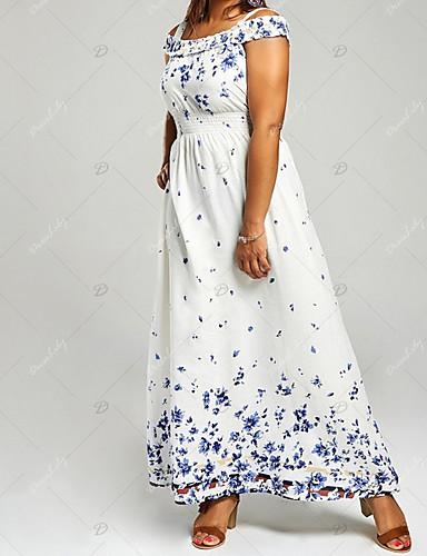 levne Maxi šaty-Dámské Větší velikosti Šaty - Geometrický, Tisk Maxi Pod rameny Vysoký pas