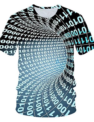 billige 11/13-Rund hals EU / USA størrelse T-skjorte Herre - 3D Grunnleggende Regnbue / Kortermet