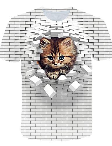 billige PF Style-Rund hals EU / USA størrelse T-skjorte Herre - Fargeblokk / 3D / Dyr, Trykt mønster Gatemote / overdrevet Klubb / Strand Hvit / Kortermet