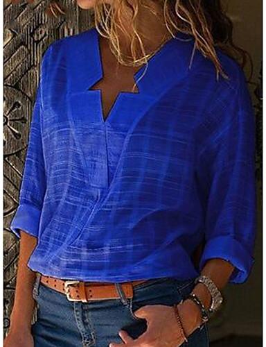 billige Dametopper-Bomull Løstsittende V-hals T-skjorte Dame - Ensfarget Grunnleggende / Gatemote Rosa