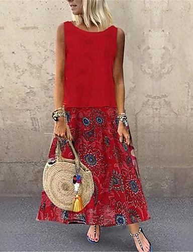 levne Maxi šaty-dámské maxi tunika šaty červená žlutá modrá m x x xxl