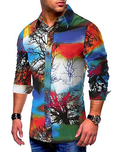 voordelige Herenoverhemden-Heren Standaard Print EU / VS maat - Overhemd Katoen Kleurenblok / Grafisch Buttondown boord blauw / Lange mouw