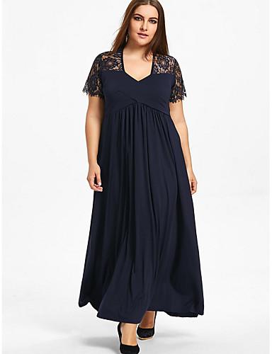 levne Šaty velkých velikostí-Dámské Větší velikosti Swing Šaty Maxi Do V