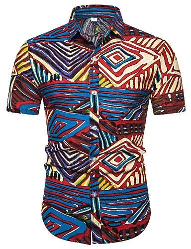 levne Pánské košile-Pánské - Etno Vintage Košile, Tisk modrá & bílá Rubínově červená