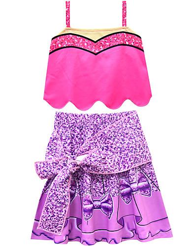 סט של בגדים כותנה ללא שרוולים קולור בלוק פעיל / סגנון רחוב בנות ילדים / פעוטות