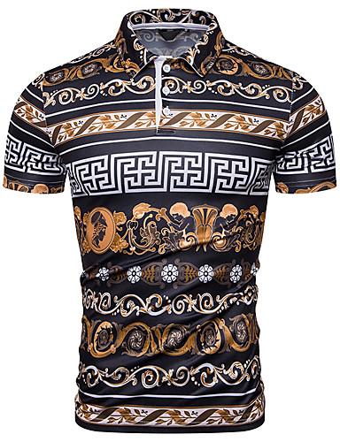 cheap Men's Clothing-Men's Graphic Polo Daily Wear Shirt Collar Rainbow / Short Sleeve