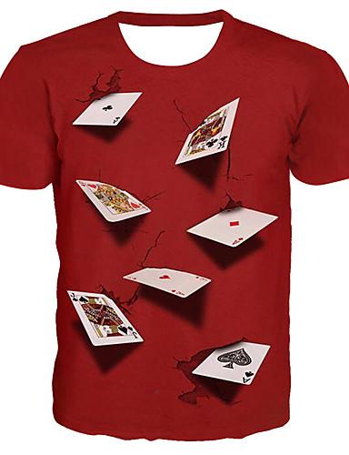 levne Vánoce-Pánské - 3D / Grafika / Písmeno Základní / Přehnaný Větší velikosti Tričko, Tisk Kulatý Rubínově červená / Krátký rukáv