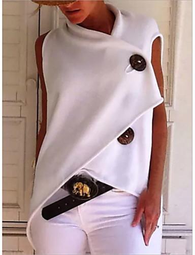 billige Dametopper-Bomull Løstsittende T-skjorte Dame - Ensfarget, Lapper Grunnleggende Gul