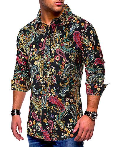 voordelige Herenoverhemden-Heren Standaard Print EU / VS maat - Overhemd Katoen Grafisch Buttondown boord Zwart / Lange mouw