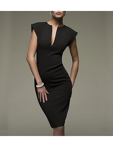 levne Pracovní šaty-Dámské Práce Sexy Bavlna Štíhlý Bodycon Šaty - Jednobarevné Délka ke kolenům Hluboké V