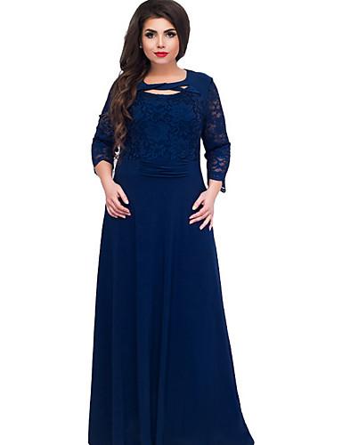levne Šaty velkých velikostí-Dámské Tričko Šaty - Jednobarevné, Krajka Maxi