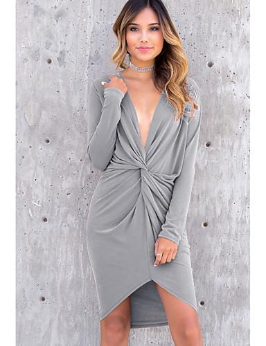 Жен. Уличный стиль Оболочка Платье - Однотонный Ассиметричное