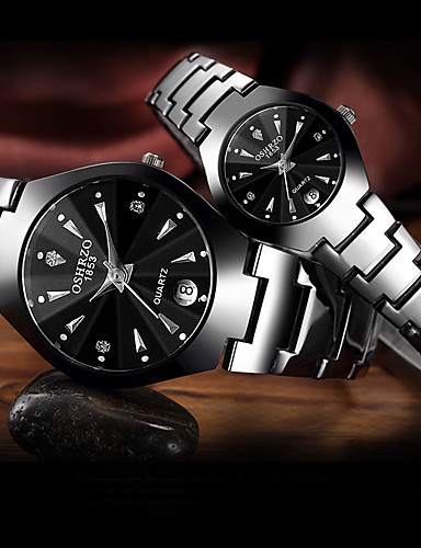preiswerte Paar Uhren-Paar Uhr Stahl Uhren Quartz Formaler Stil Stilvoll Edelstahl Schwarz / Rotgold 30 m Wasserdicht Kalender Armbanduhren für den Alltag Analog Luxus Modisch Schwarz Rotgold / Ein Jahr