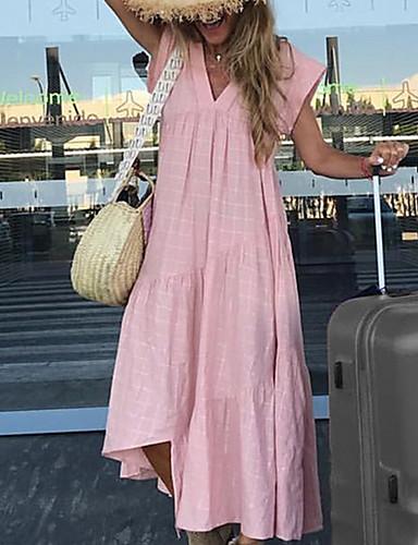 levne Maxi šaty-Dámské Základní Tričko Šaty - Jednobarevné, Volány Délka ke kolenům Do V