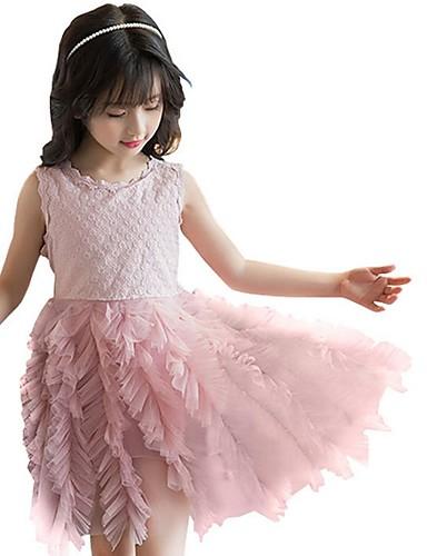 גזרת A קצר \ מיני שמלה לנערת הפרחים  - פוליאסטר ללא שרוולים עם תכשיטים עם מוצק על ידי LAN TING Express