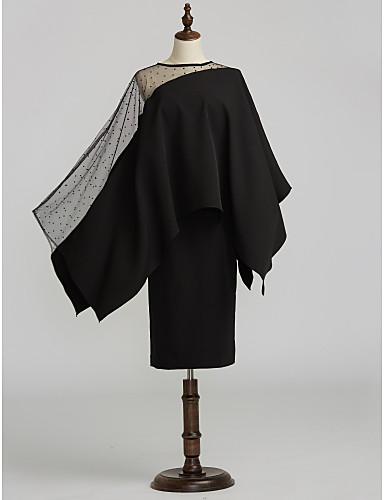 voordelige Wrap Dresses-Strak / kolom Met sieraad Over de knie Satijn / Tule Bruidsmoederjurken met Kralen / Geplooid door LAN TING BRIDE® / See Through