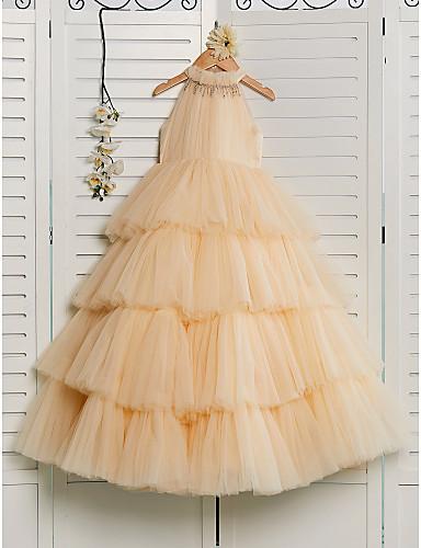 preiswerte Hochzeiten & Feste-Prinzessin Boden-Länge Blumenmädchenkleid - Tüll Ärmellos Halter mit Perlenstickerei durch LAN TING BRIDE®