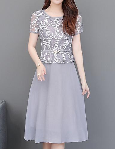 levne Šaty velkých velikostí-Dámské Elegantní A Line Šaty - Geometrický, Tisk Délka ke kolenům