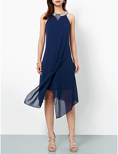 billige Salg-A-linje Grime Asymmetrisk Chiffon Cocktailfest Kjole med Appliqué av TS Couture®