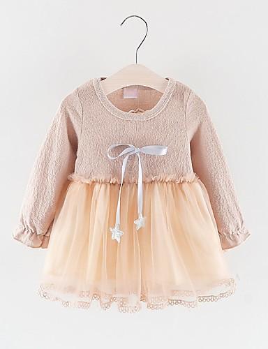 שמלה שרוול ארוך אחיד בנות תִינוֹק