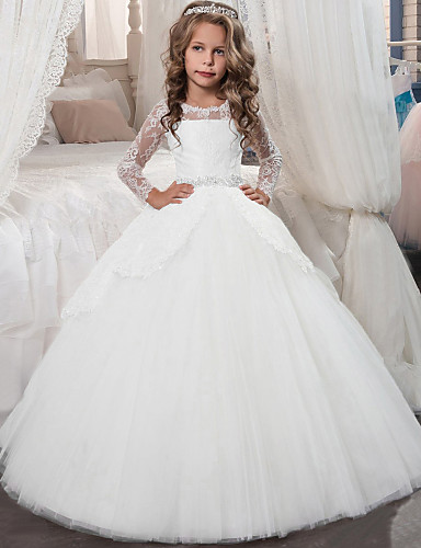 cheap Flower Girl Dresses-Princess Floor Length Flower Girl Dress - Chiffon / Lace / Tulle Long Sleeve Jewel Neck with Lace / Crystals / Rhinestones by LAN TING Express