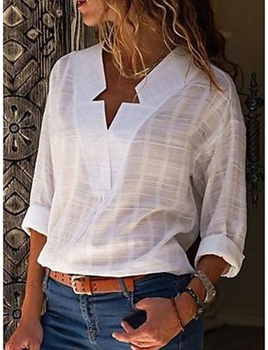 billige T-skjorter til damer-Bomull Løstsittende V-hals T-skjorte Dame - Ensfarget Grunnleggende / Gatemote Rosa