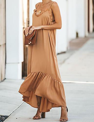 Жен. Элегантный стиль Шифон Платье - Однотонный Макси