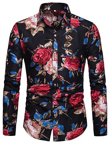 voordelige Herenoverhemden-Heren Elegant Print Overhemd Katoen, Club Bloemen / Grafisch Klassieke boord blauw / Lange mouw